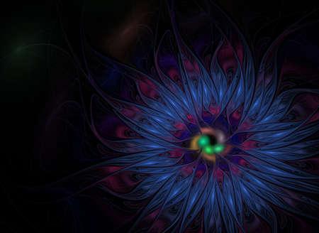Fractal oil paint flower purple computer-generated. Violet flower on black background for design