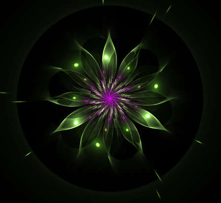 Night flactal glow flower computer-generated. Green flower on black background for design