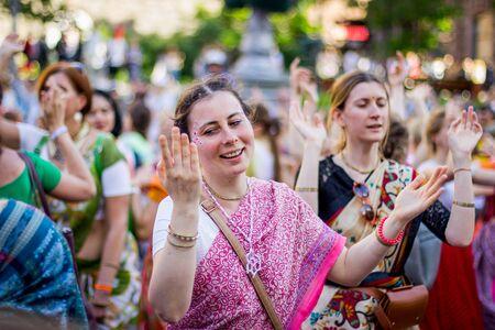 Kiev, Ukraine - May 26, 2017: Procession of the Hare Krishnas during the Vedic festival on Khreshchatyk Street Sajtókép