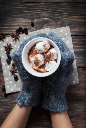chocolate caliente: Las manos en los guantes de punto que sostienen la taza de chocolate caliente en el coraz�n gris con malvavisco y canela, primer