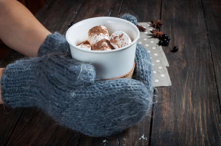 Hands in knitted mittens holding hot chocolate in grey heart cup with marshmallow and cinnamon, closeup Stok Fotoğraf