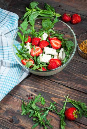 nosh: Salad of lettuce, arugula, strawberries feta cheese
