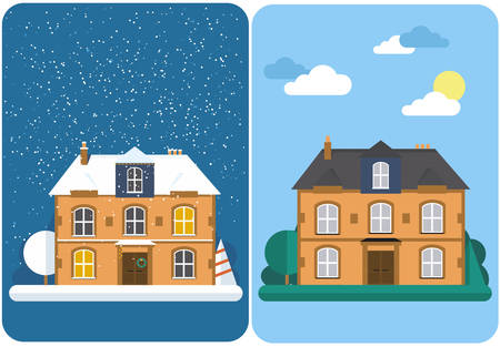 suburban: Winter house. Summer house. Family suburban home. Vector flat illustration