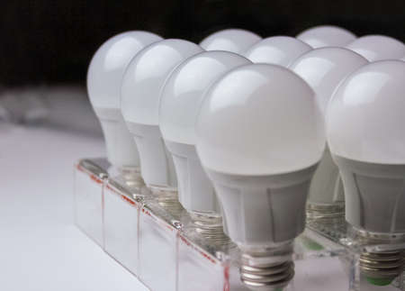 resourceful: many led lamps light science and technology background.