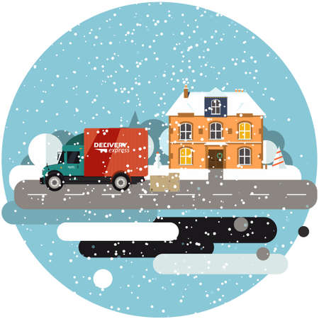 Delivery truck with cardboard boxes near house on background of winter landscape. Fast delivery banner, vector illustration. Commercial vehicle.