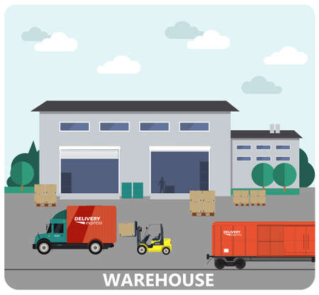 storage facility: Warehouse building and shipping process flat banner set vector illustration Illustration