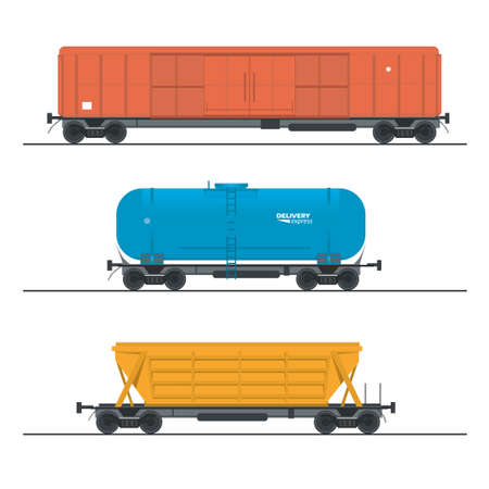 boxcar: vector illustration of railway cars collection, design elements.