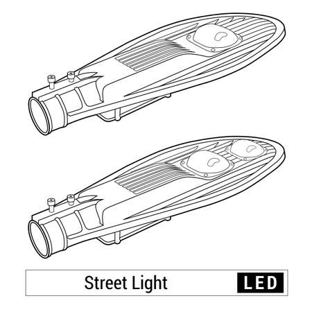 led: Street light isolated vector. Linear scheme. Led