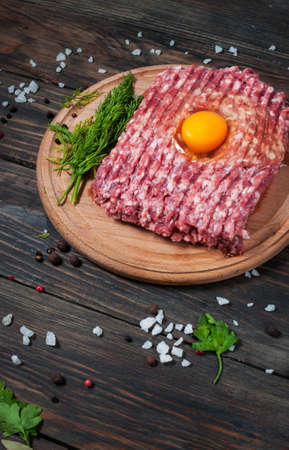 Homemade raw minced meat with egg and herbs