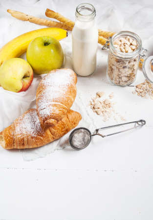 banana bread: Healthy breakfast with apple, banan and croissant.