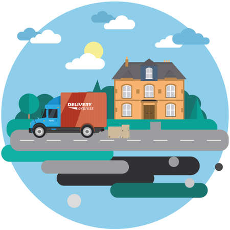 Delivery truck with cardboard boxes near house on background of summer landscape. Fast delivery banner, vector illustration.