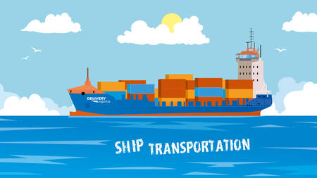 Cool detailed vector design element on seagoing freight transport with loaded container ship.