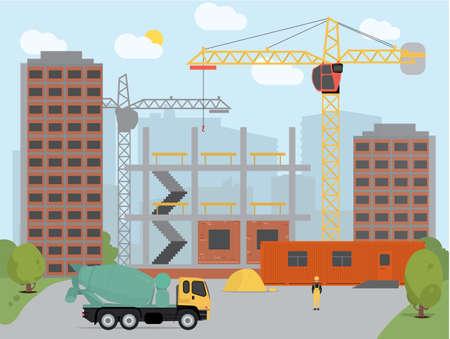 Process construction building a house Illustration