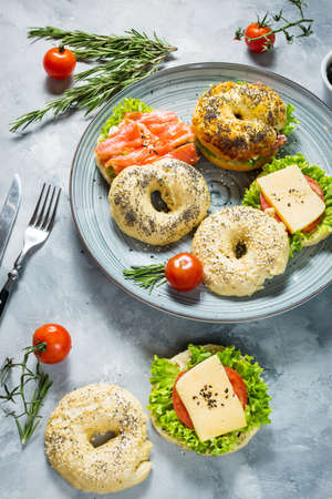Bagels with salmon, vegetables, cream-cheese on grey concrete background.