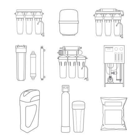 Water filter isolated vector icons. Linear style. Water purification equipment, cartridge.