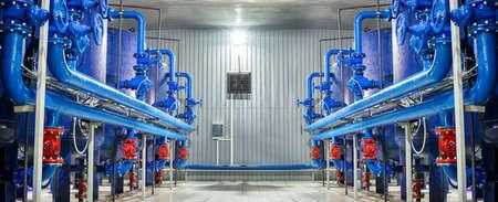 Water purification filter equipment in plant workshop. Standard-Bild