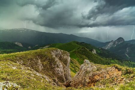 Thunder and lightning in the mountains of Adygea
