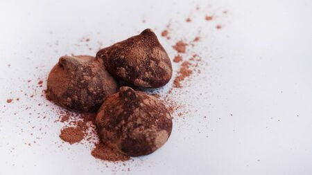 Truffles cacao 3 - with fine cacao powder Stock Photo