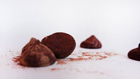 Truffles cacao 1 - with fine cacao powder Stock Photo