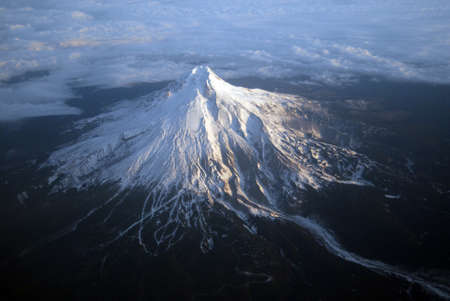 The view from above Mount Hood, east of Portland, Oregon photo