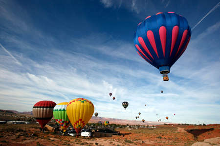 lake powell: Hot air balloons take off from Page, Arizona -- near Lake Powell