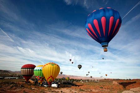 Hot air balloons take off from Page, Arizona -- near Lake Powell