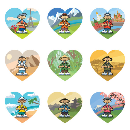 traveller: Set of 9 icons in the shape of a heart with smiling little travelers around the world