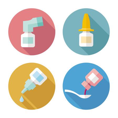 jarabe: Drogas forma iconos del color del vector Vectores