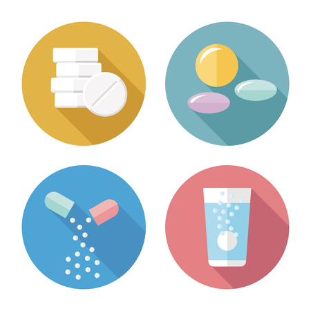 effervescent: Drug forms color icons vector