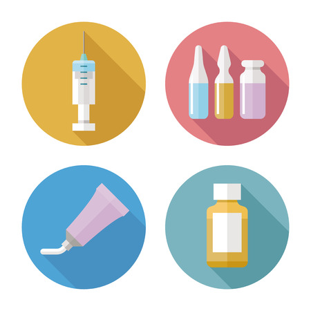 ointment: Drug forms color icons vector