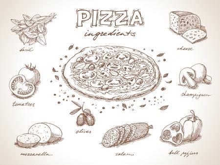 Pizza mit Zutaten Freihandzeichnen, Skizze Stil
