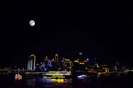 a nocturne: he night view of Chongqing in the moonlight Stock Photo