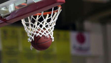 Basketball ball enters the basket