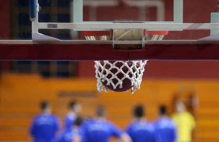 enters: Basketball ball enters the basket
