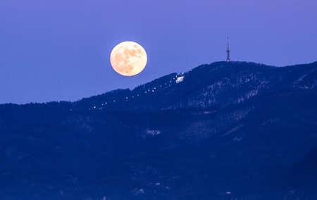 Moon over mountain Sljeme and ski course