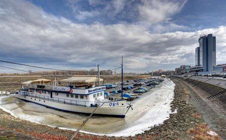 Town Osijek and winter harbour on river Drava