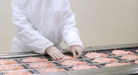 Worker in protective clean suit in boloney sousages production plant