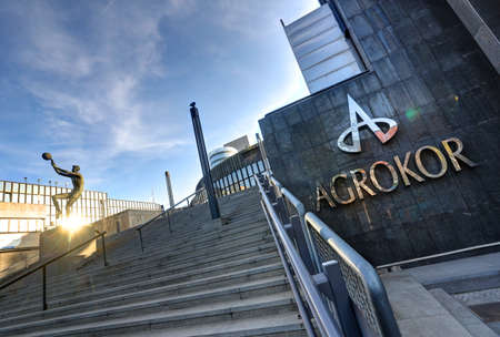 Picture shows sign and a main building of the Croatian food and retail concern Agrokor d.d. on 31. March 2017 in Zagreb, Croatia.