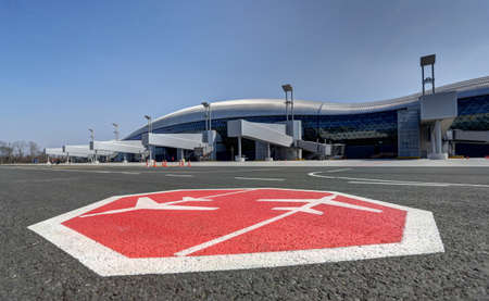 Exterior view on the finger jetways and stop airport sign at the new terminal of Franjo Tudjman airport in Zagreb, Croatia, 16 March 2017.
