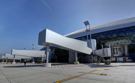 Exterior view on the finger jetways at the new terminal of Franjo Tudjman airport in Zagreb, Croatia, 16 March 2017. Publikacyjne