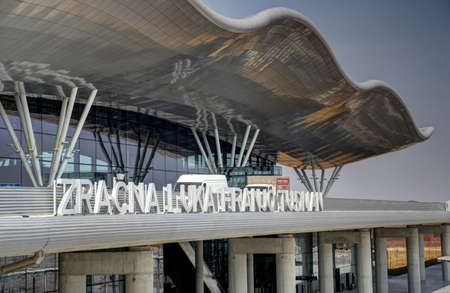 Main sign, roof and external view on the new Terminal of Franjo Tudjman airport in Zagreb, Croatia, 16 March 2017.