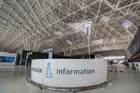 Information desk and interior view on the new Terminal of Franjo Tudjman airport in Zagreb, Croatia, 16 March 2017.