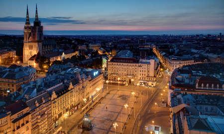 Sunrise and main square in Zagreb, Croatia