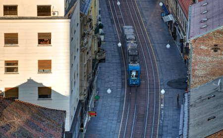Zagreb tram on empty street Zdjęcie Seryjne
