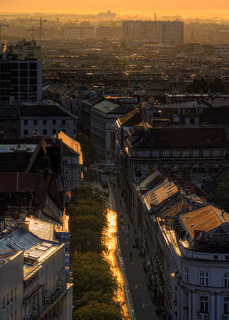 Part of Zagreb roofs with fog in sunrise