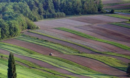 A tractor pictured from the air is cultivating an agricultural area covered by forest Zdjęcie Seryjne