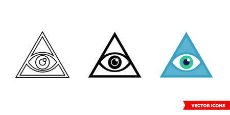 Third eye symbol icon of 3 types: color, black and white, outline. Isolated vector sign symbol.