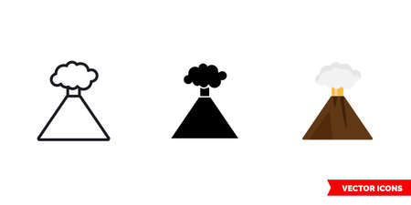 Volcano icon of 3 types. Isolated vector sign symbol. 向量圖像