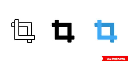 Crop icon of 3 types. Isolated vector sign symbol.