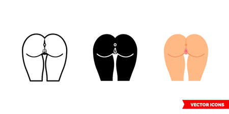 Anus icon of 3 types. Isolated vector sign symbol.